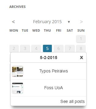 Archives Calendar Widget ScreenShot